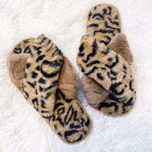 Shoes - NEW Leopard Print Furry Slide Crisscross Slippers